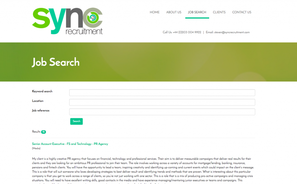 Sync Recruitment Job Search built by Morris Projects