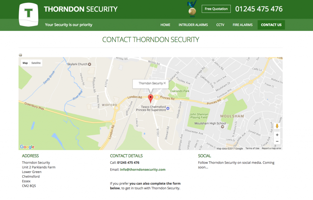 Thorndon Security Chelmsford Essex - Contact Information